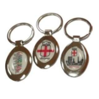 Keyring Shiny oval metal